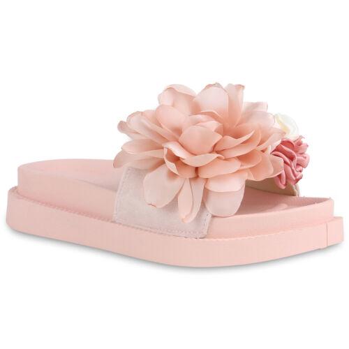 Damen Sandaletten Pantoletten Plateau Sandalen Blumen Sommerschuh 830512 Trendy