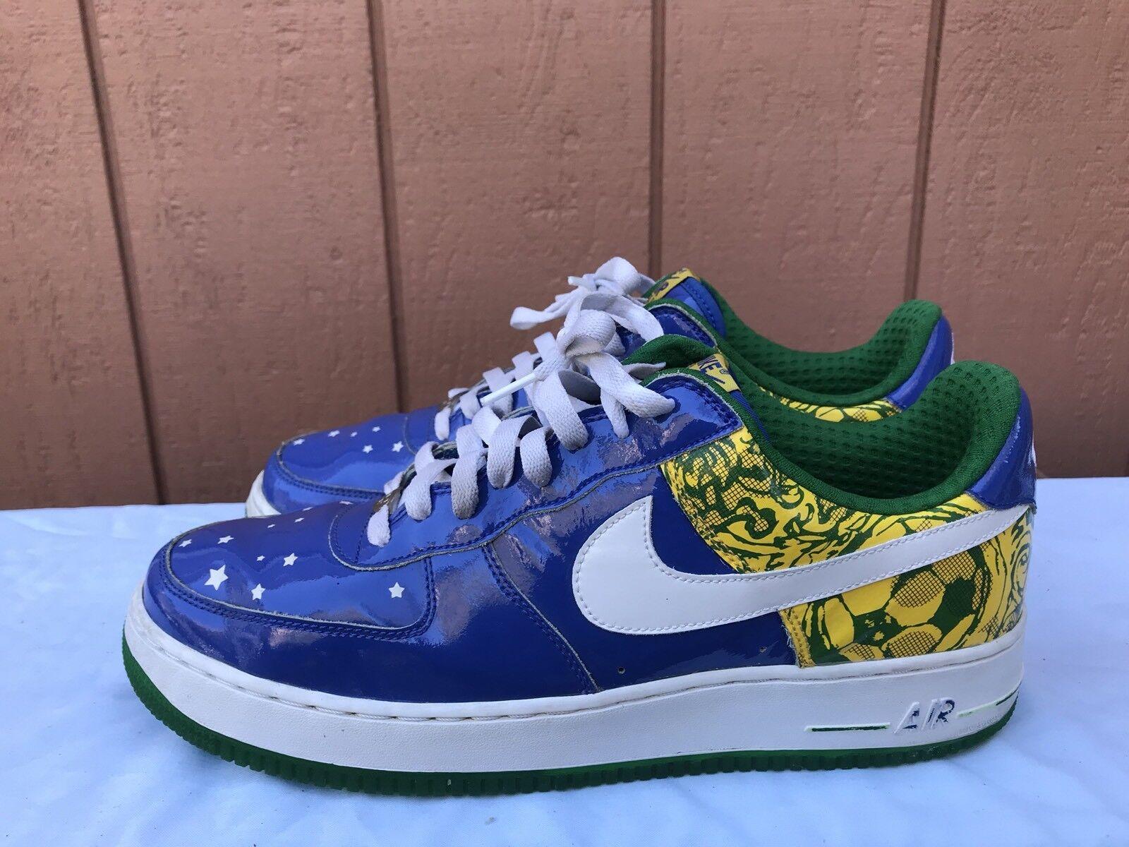 EUC Nike 313983-411 US 12.5 Air Force 1 Premium Ronaldinho Collection Royal A2