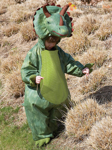Childs Deluxe Triceratops Costume Boy Dinosaur Fancy Dress Up Kids Outfit Animal