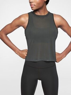 athleta essence micro mesh tank gray xl 16 nwt retail 49