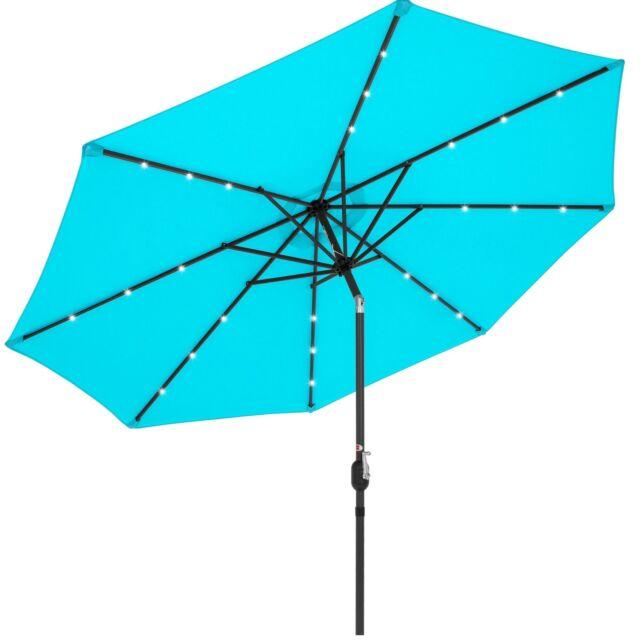 Best Choice Products 10ft Solar LED Lighted Patio Umbrella w/ Tilt Adjustment, F