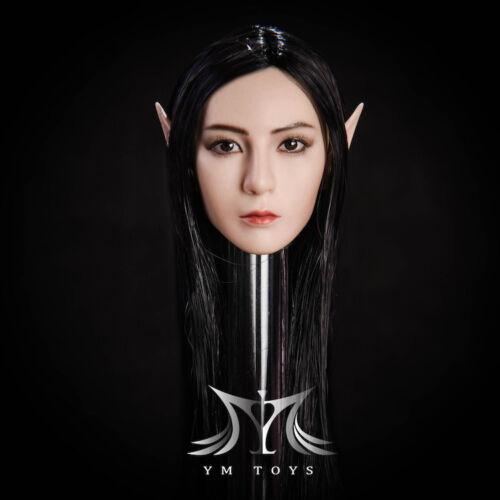 "1//6 Fairy Elf Female Head Sculpt Detachable Ears SUNTAN For 12/"" Female Figure"