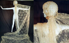 """Vintage Beaded Wax Flower Headpiece Cap Cathedral Long Lace Wedding Veil 160"""""""