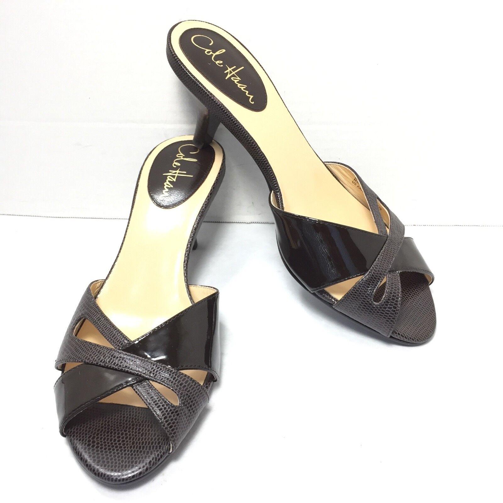 design semplice e generoso Donna  Cole Cole Cole Haan NikeAir Marrone Kitten Heel Slip On Mules Sandals Dimensione 7 AA New  basso prezzo del 40%
