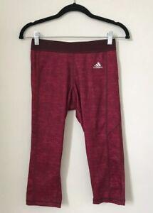 Adidas-Damen-Leggings-Groesse-S-8-10-Rosa-Lila-Capri-Yoga-Active-Wear-Techfit