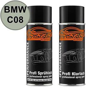 Autolack-Spraydosen-Set-BMW-C08-Platinsilber-Metallic-Basislack-Klarlack