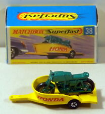 DTE MATCHBOX SUPERFAST TRANSITIONAL 38 GREEN HONDA MOTORCYCLE AND TRAILER NIOB