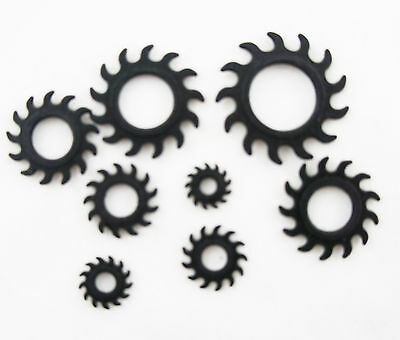 10Pc Set Black Saw Sun Ear Plug Taper Gauge Tunnel Replacement Rubber O-Rings