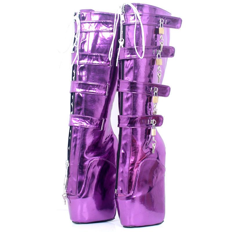 Púrpura PVC Alta sanar Plataforma botas, Alta Cura Sexy 20CMS bota 20CMS Sexy bota de ballet a8ce8a