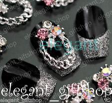 #EA087 10pcs 3D Gold Glitter Chain Ring Alloy Jewelry Nail Art Tips Decoration