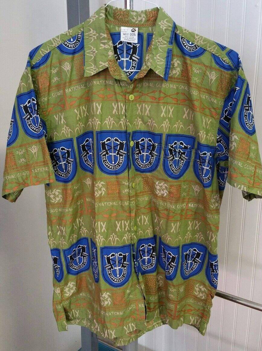 National Guard De Oppresso Liber Crest Hawaiian Tapa Men's Shirt Wet Dog Size L