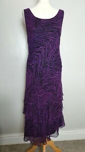 Cattiva-Size-14-Beautiful-Purple-Printed-Asymmetricr-Layered-100-Silk-Dress