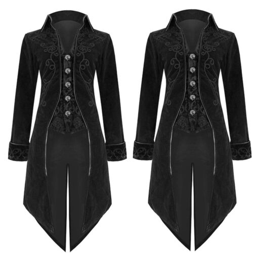 Retro Men/'s Jacket Goth Steampunk Uniform Costume Praty Outwear Long Coat Fit UK