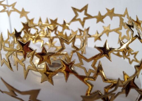 25mm CUT OUT SHINY GOLD SATIN CHRISTMAS STAR TRIMMING RIBBON 1m LENGTHS