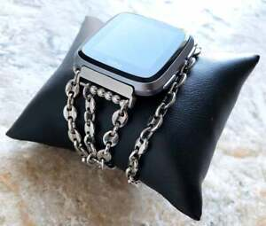 5mm Coffee Bean Chain Link Bracelet Band for Fitbit Versa 2 3 Lite and Sense