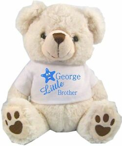Image Is Loading PERSONALISED WHITE TEDDY BEAR LITTLE BROTHER BIRTHDAY GIFTS