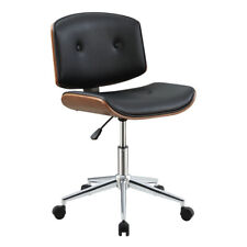 Office Low Back Desk Chair Height Adjustable Wooden Leather Swivel Task Chair