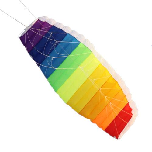 Rainbow Sports Beach Kite Power Dual  Stunt Parafoil Parachute For Beginner JX