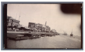 Egypte-Port-Said-Le-Quai-Vintage-citrate-print-Tirage-citrate