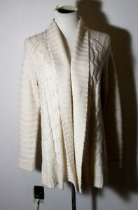 Women-039-s-TALBOTS-Beige-Long-Wool-Blend-Cable-Knit-Cardigan-Sweater-Size-M
