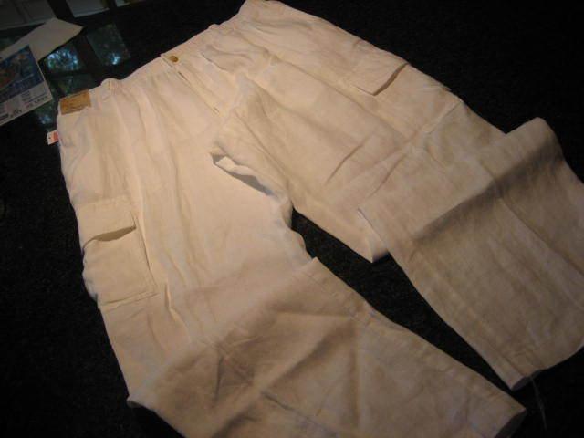 NWT - Mens CARIBBEAN White Elastic Waist LINEN Cargo Pants (36 x 36)