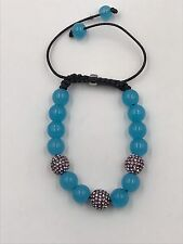 10mm Shamballa Beaded Adjustable Bracelet Genuine Blue Turq.  Hand Set Crystals