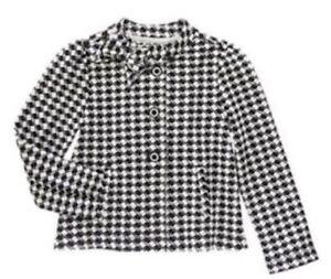 Zu 6 Olivia Girls Details S Jacket 5 Size Coat Nwt Gymboree Checked Houndstooth Black White Scq35RLj4A