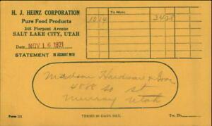 1921 SALT LAKE CITY Utah (UT) H. J. HEINZ CORPORATION Statement of Account Madso