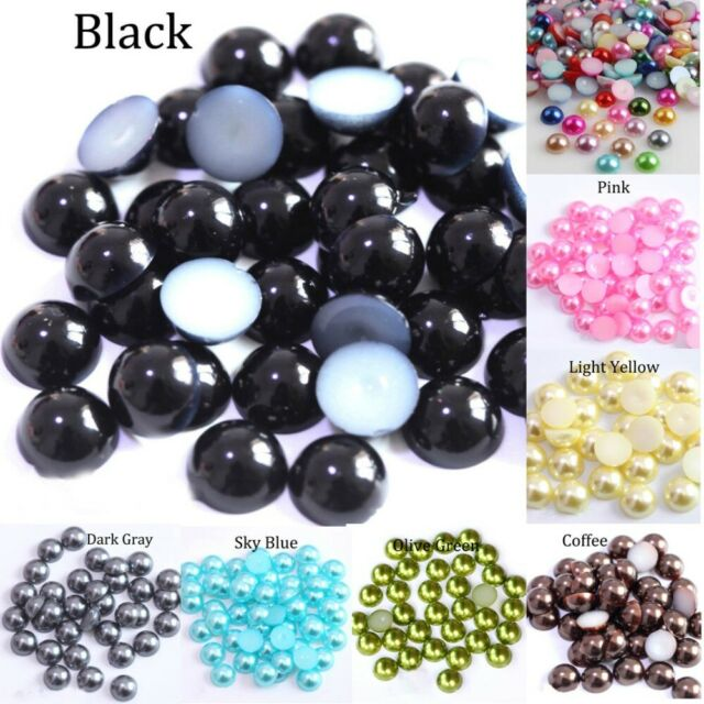 2/3/4/5/6/8/10/12/14 MM Acrylic Beads Pearl Imitation Half Round Flatback Red