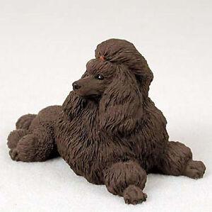 Poodle Figurine Hand Painted Statue Chocolate