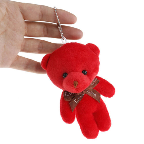 Mini plush bear stuffed cartoon animal cute key chain pendant soft toy L~JP