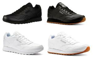 Reebok-Harman-Blanc-Noir-Gomme-Cuir-Baskets-Baskets-Chaussures-de-Tennis