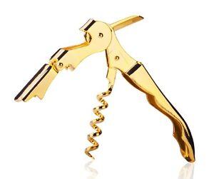Gold-Plated-Corkscrew-Double-Hinge-Waiters-Wine-Key-Bottle-Opener-CHGLD