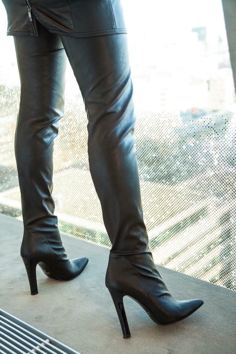 Italienischer High Heels Designer Overknee Stiefel, Stiefel, Stiefel, schwarz, Stretchkunstleder c3e4dd