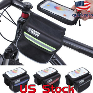 Bicycle-Bag-Double-Pouch-Cycling-Cell-Phone-Front-Tube-Bike-Travel-Accessories