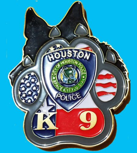 K-9 Police Dog CHALLENGE COIN Houston Texas Police Department 97