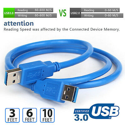 USB 3.0 Male to Male Cable Cord Super Speed 5Gbps for Data Transfer Hard Drive