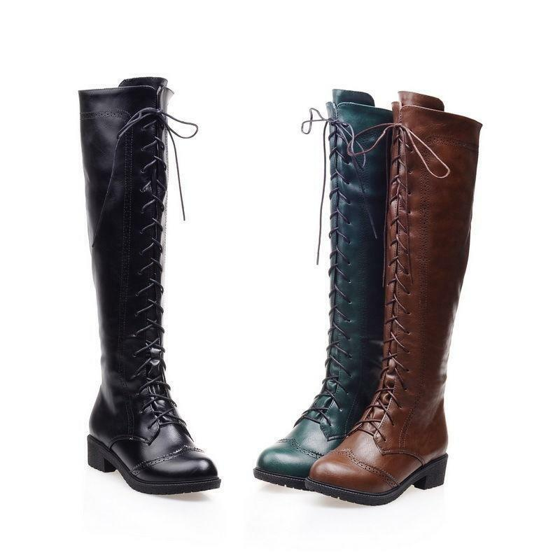 Retro Womens round toe side zip Lace Up Low Heel Knee High knight Boots