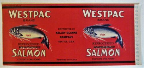 WESTPAC Vintage Salmon Can Label Seattle WA