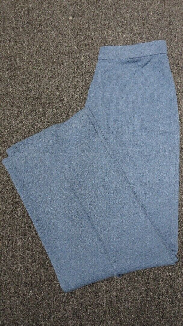ST. JOHN bluee Wool Santana Knit Straight Leg Solid Casual Pant Sz 8 GG4721