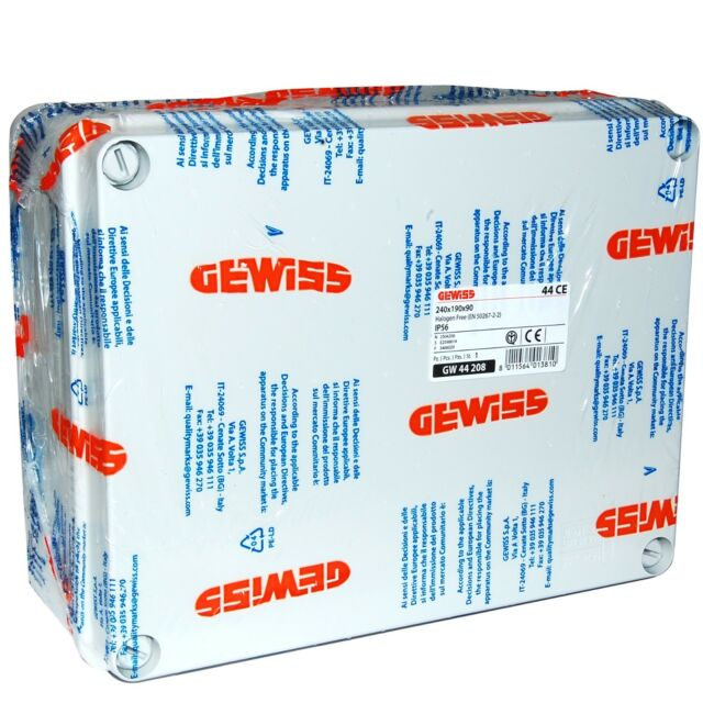 IP56 240X190X90mm GEWISS GW44408 JUNCTION BOXES /& ELECTRIC EQUIPMENT