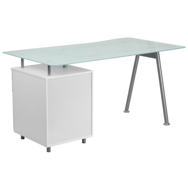 Flash Furniture Computer Desk With, Flash Furniture Black Glass Computer Desk With 3 Drawer Pedestal
