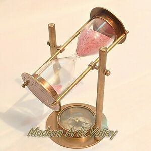 Antique Brass Revolving Sand Timer Base Compass Collectible Decorative Gift Ebay