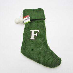 image is loading letter 039 f 039 monogram green amp white - White Knit Christmas Stockings
