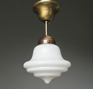 Details zu Hängelampe Deckenlampe Art Deco Jugendstil Bauhaus Opalglas  Messing Antik Lampe