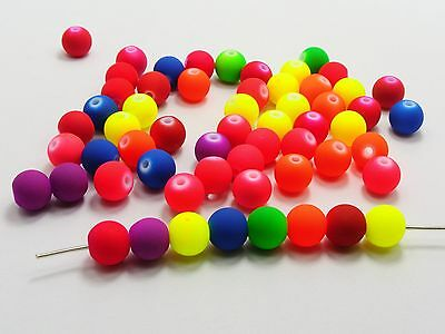 """500 Mixed Matte Neon Color Acrylic Round Beads 10mm(3/8"""") Rubber Tone"""