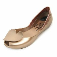 Vivienne Westwood For Melissa Queen Gold Heart Flat Shoes Sz 8 $168 NEW