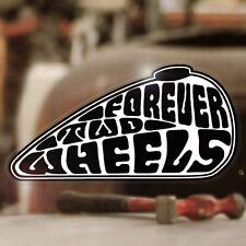 Forever Two Wheels Sticker Aufkleber Autocollante Bobber Chopper weiss 90mm