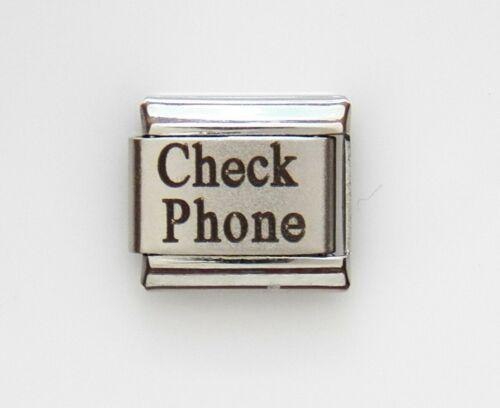 Check Phone Laser Medical Alert 4 Italian Charm Bracelet Free Medical ID Card