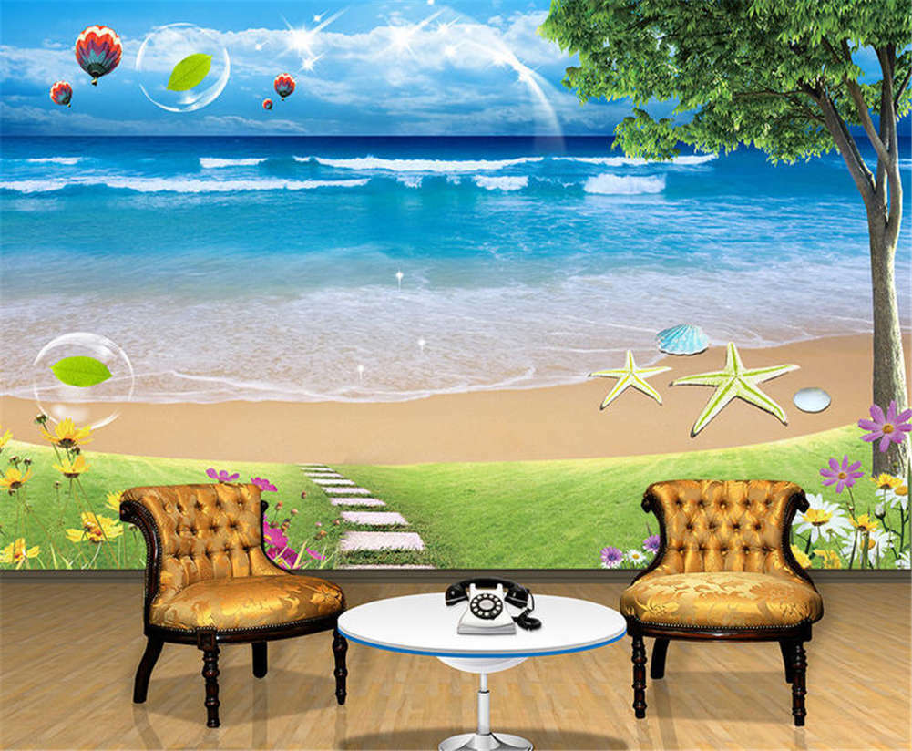 Concise Sand And Sea 3D Full Wall Mural Photo Wallpaper Printing Home Kids Decor